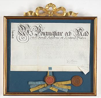 BREV/DOKUMENT med sigill, av Samuel Ekerman, signerad, 1740-tal.