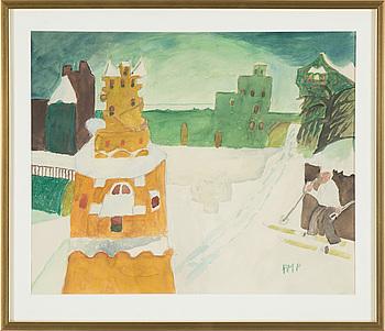 PRIMUS MORTIMER PETTERSSON, akvarell, signerad PMP.