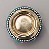 SaltskÅl med sked, silver och emalj, moskva 1895 och ca 1900, prokopi nikitin, skeden stämplad ba