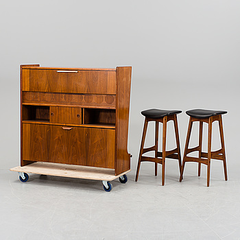 A bar cabinet and two bar stools by Johannes Andersen, Denmark, 1950s/1960s.
