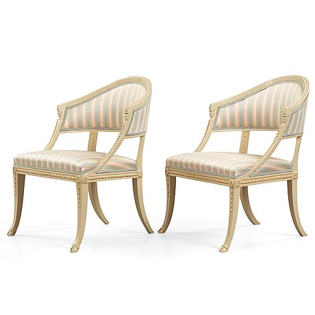 A pair of late gustavian armchairs by ephraim ståhl (master in stockholm 1794 1820)