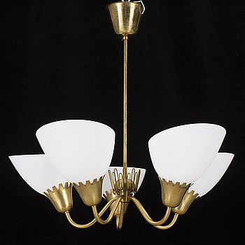 A ceiling lamp, brass and glas, 1950, 60s.