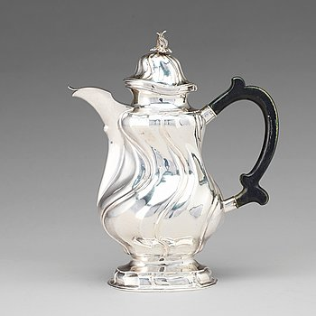 130. A Swedish 18th century silver coffee-pot, mark of Johan Wennerwall, Gothenburg 1759.