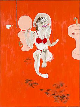 KATE LYDDON, blandteknik med collage på duk, signerad och daterad 2008 a tergo.