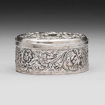 119. A Swedish eraly 18th century silver box, mark of Hans Ekerström dä, Hälsingborg 1707.