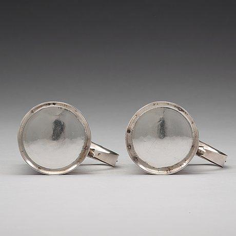 A pair of english early 18th century silver muggs, mark of john cory, london 1704.