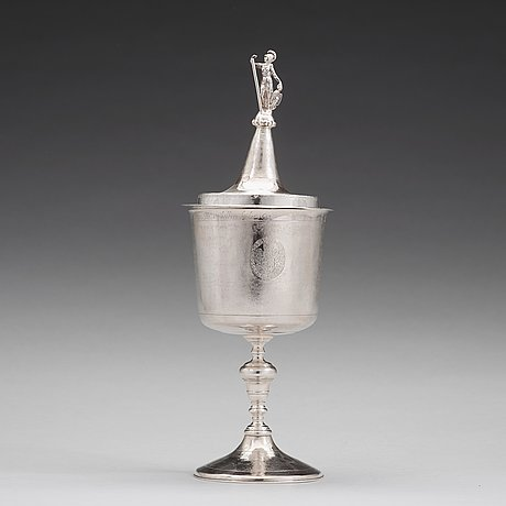 An english 17th century silver cup and cover, makers mark im, london 1685.