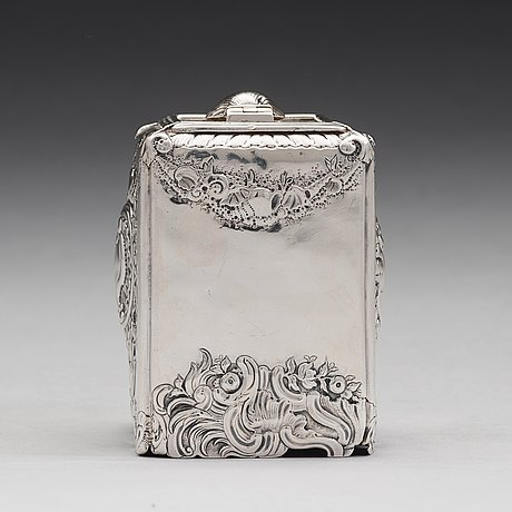 An english 18th century george ii silver tea-caddy, mark of christian hillan, london 1738.