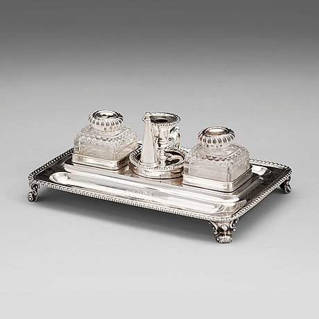 An english 18th century silver ink-stand, mark of garrard's, london 1827.