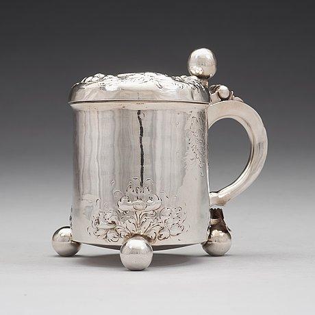 A norwegian early 18th century silver tankard, mark of johannes johannesen reimers d e, bergen c.1700.