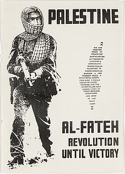"""Al-Fateh, Revolution until victory""´, poster from the 60/70 s."