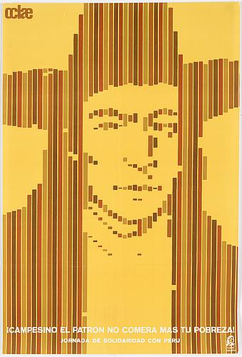 """""""campesino el patron no comera mas tu pobreza"""", political poster, 60/70s. published by oclae."""