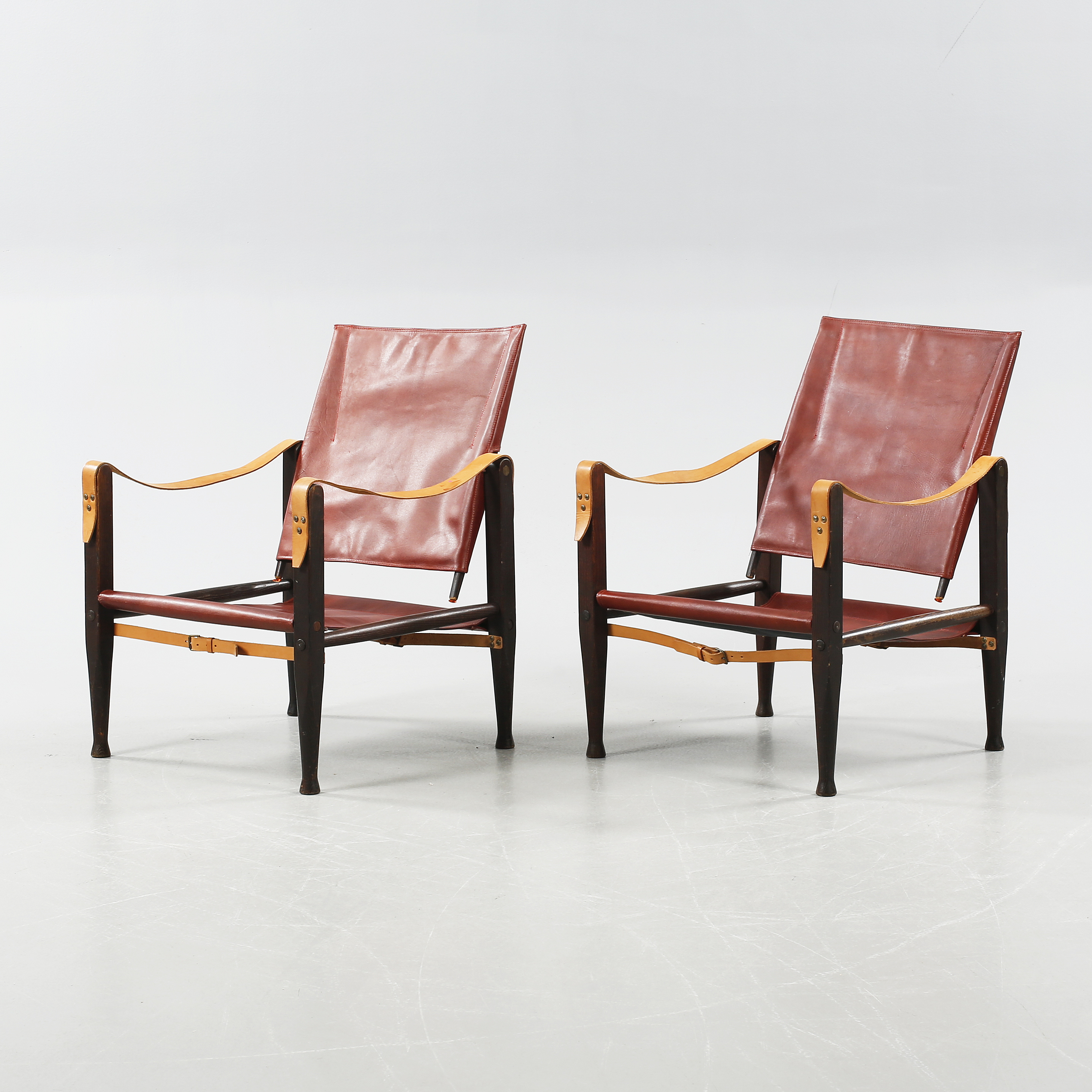 A pair of safari chairs by Kaare Klint Denmark second half of