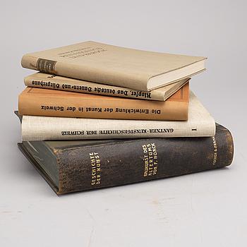 SAMLING KONSTBÖCKER, 5 st bland annat Geschichte der Kunst av Ludwig Justi, Berlin ca 1910.