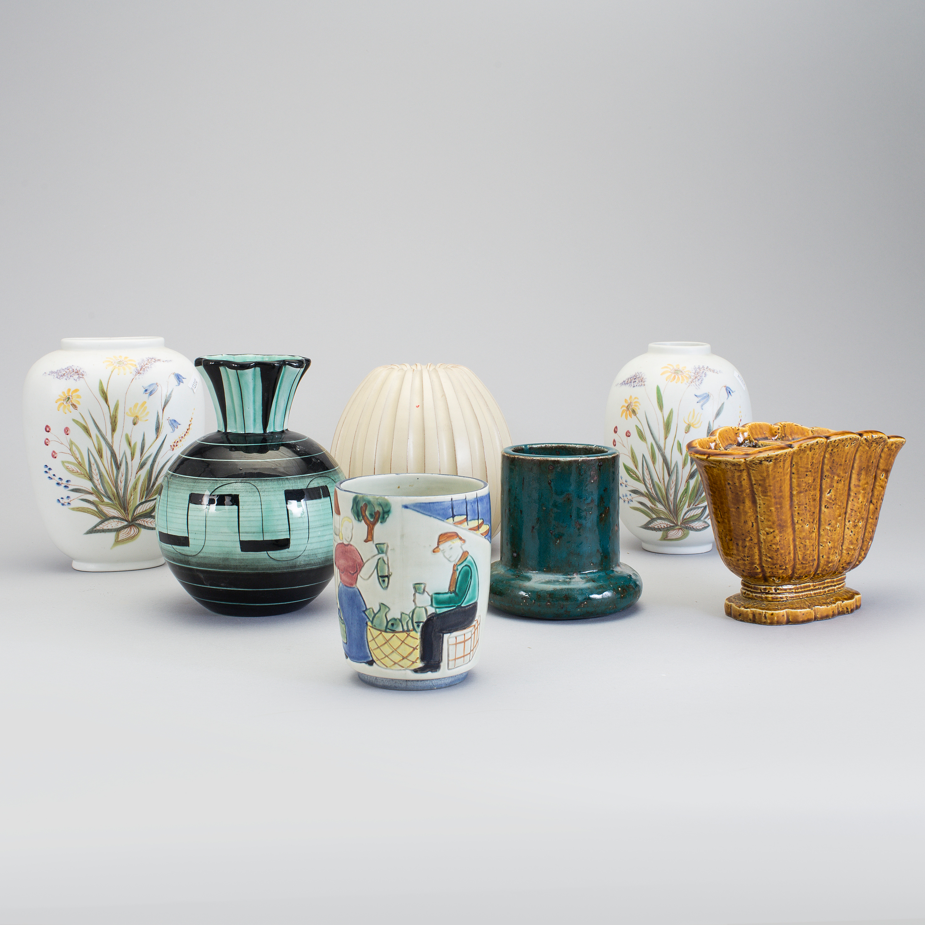 svensk keramik SAMLING SVENSK KERAMIK, 7 delar, bla Ilse Claesson och Gunnar  svensk keramik