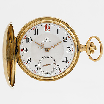 "OMEGA, pocket watch, ""red twelve"", 50 mm, savonett."