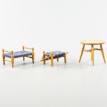 Two stools and a table designed by Erik Höglund for Boda Möbler in 1960s.
