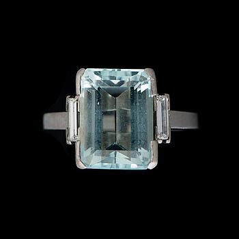A RING, facetted aquamarine, baguette cut diamonds, palladium. A. Tillander, Helsinki Finland .