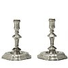 A pair of pewter candlesticks by anders hedenbom, Örebro 1734