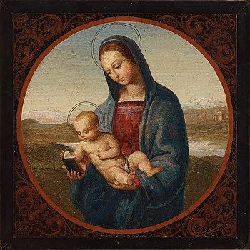 102. MIKROMOSAIK, efter Rafaels sk Conestabile Madonna, Italien, 1800-tal.