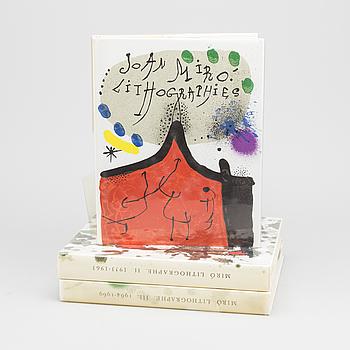 """JOAN MIRÓ, BÖCKER, 3 st, """"Joan Miró, Litographe I, II och III med 12 + 12 + 6 litografier inkl omslag."""