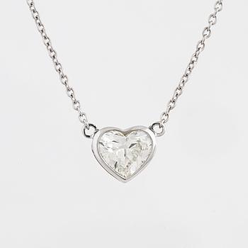 A heart cut diamond necklace.