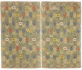 """196. Märta Måås-Fjetterström, DRAPES, 1 pair, """"Rågen"""", flat weave, ca 213 x 127,5 and 212,5 x 126,5 cm, both signed AB MMF."""