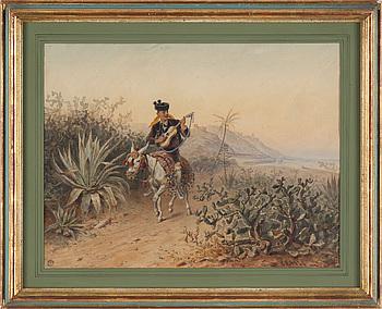 CARL GOEBEL, akvarell. Signerad.