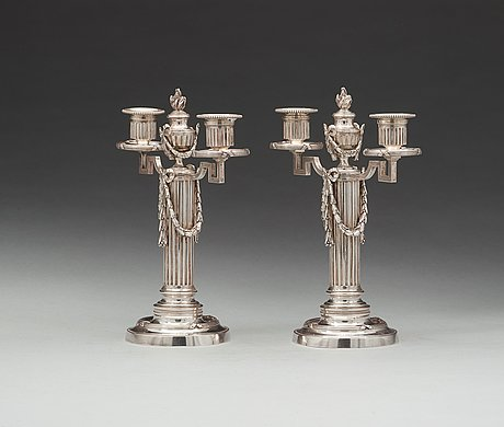 A pair of fabergé, silver candelabra, workmaster julius rappoport, s.t petersburg before 1899.