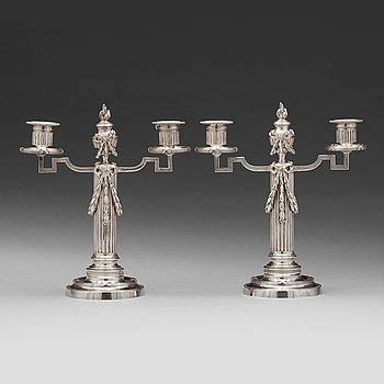 234. A pair of Fabergé, silver candelabra, workmaster Julius Rappoport, S.t Petersburg before 1899.
