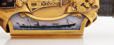 A fabergÉ gold, enamel and silver nobel jubelee locker, workmaster fedor afanassiev, st petersburg, circa 1890.