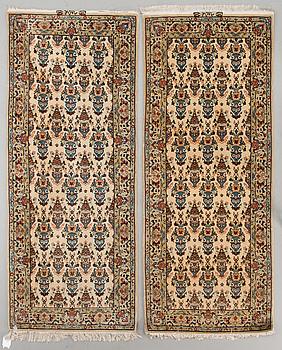 MATTOR, 2 st, Isfahan, part silk. Ca 198x80 och 196x80 cm.