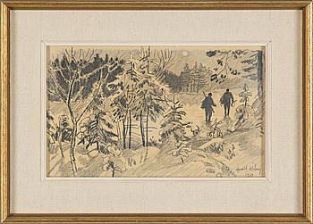 HARALD WIBERG, teckning, signerad och daterad 1959.