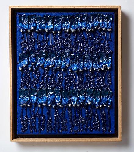 "Fernandez arman, ""monochrome accumulation no 2505 (ultramarin blue)""."
