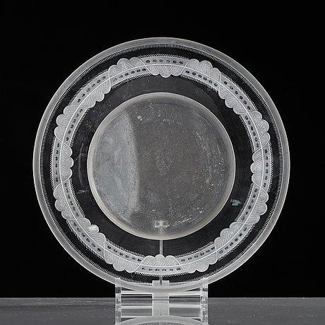 Simon gate, praktskål med fat, orrefors 1924, gravör gustaf abels, modell 122.