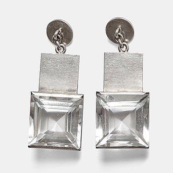 95. Wiwen Nilsson, örhängen, ett par, Lund sannolikt 1940-tal, sterling och bergkristall.