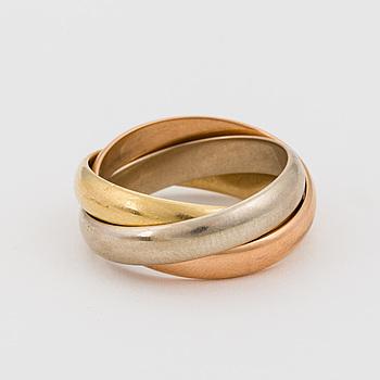 RING, 18K vit, rosé och gult guld.