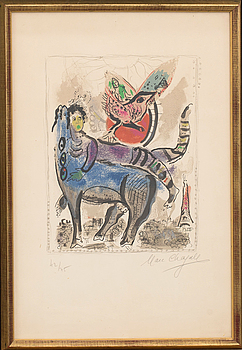 MARC CHAGALL, MARC CHAGALL, colour lithograph, signed and numbered 42/75.