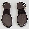 A pair of darkbrown leather sandals by ralph lauren