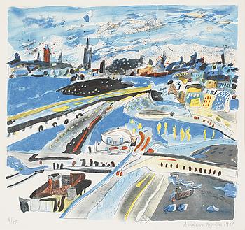 ANDERS FOGELIN, färglitografi, numrerad 6/75, signerad och daterad 1981.