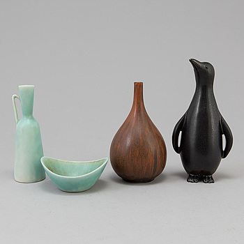 CARL-HARRY STÅLHANE, Two stoneware vases, one bowl by Carl harry Stål hane and one figurine by Gunnar Nylund, Rörstrand.