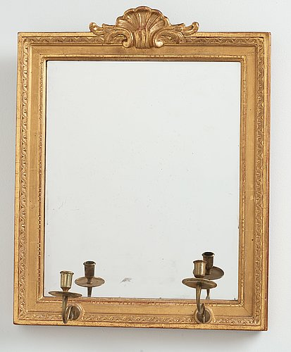 A pair of gustavian two light girandole mirros, one dated 1784