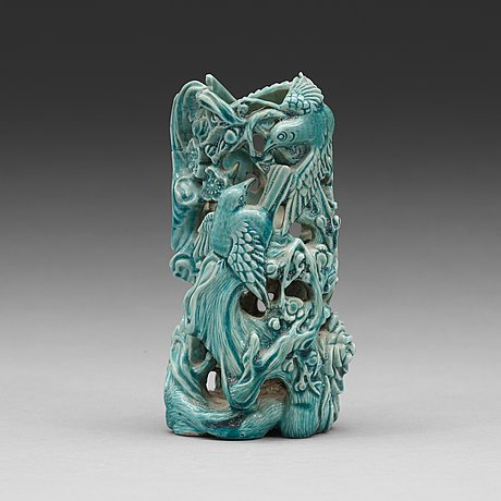 A chinese biscuit brush pot, qing dynasty, 19th century.