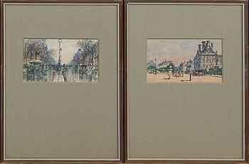 MANUEL BERNADINO RUIZ SANCHES MORALES, akvareller 2 st signerade.