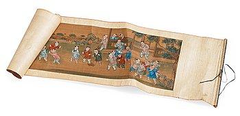 """RULLMÅLNING, tusch och färg på papper. Qingdynastin, 1800-tal. """"100 pojkar""""."""
