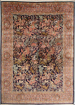 MATTA, Kashmir silke, figural ca 362 x 271 cm.