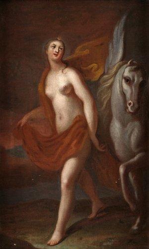 Georg engelhard schröder tillskriven, diana och bevingad häst