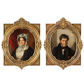 OKÄND KONSTNÄR, porträtt, ett par, olja på duk, 1800-talets andra hälft.