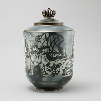 "GUNNAR NYLUND,dekor Carl-Harry Stålhane, stengods, lockurna ""Flambé"" Rörstrand, 1930/40-tal."
