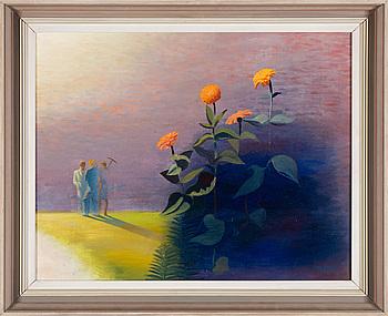 """WALDEMAR LORENTZON, """"Samtal i trädgården"""", olja på duk, signerad och daterad - 43."""